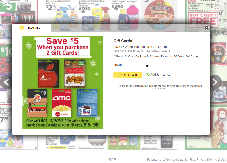 Dollar General Save $5 wyb 2 Gift Cards