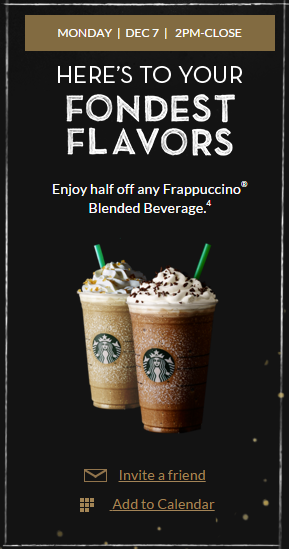 Starbucks Merry Mondays last holiday offer