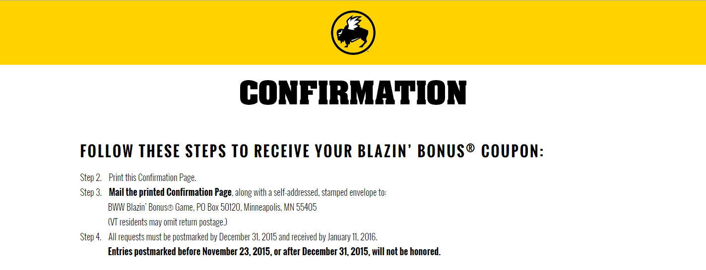 Possible FREE Buffalo Wild Wings $5 off or more Coupon (ends soon)