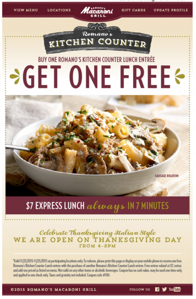Macaroni Grill Kitchen Counter Lunch BOGO