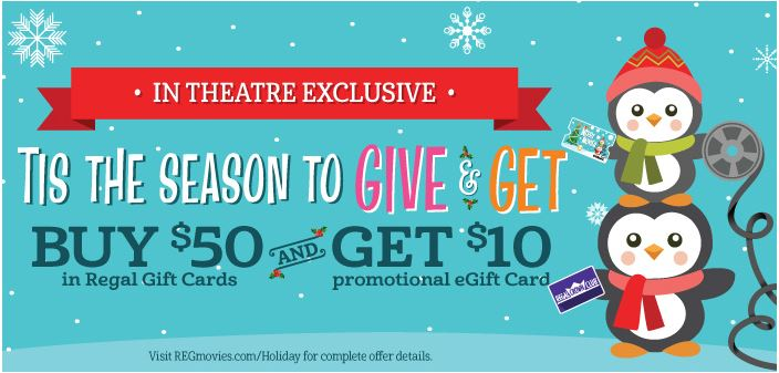 Regal Cinemas Buy $50 in Gift Card & Get $10