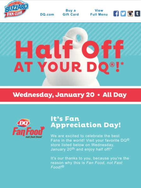 Dairy Queen Fan Appreciation Day (only today)