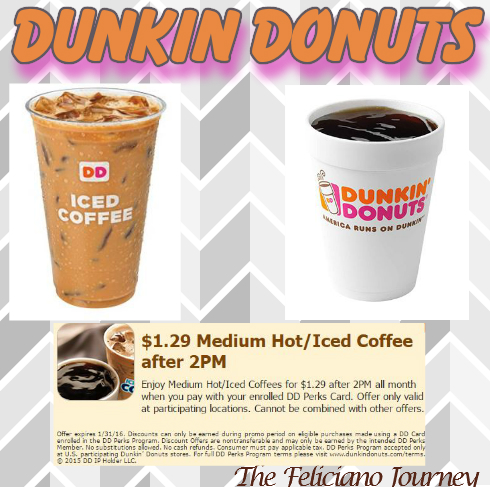 Dunkin donuts $1.29 Med Hot/Iced Coffee after 2pm (ends today)