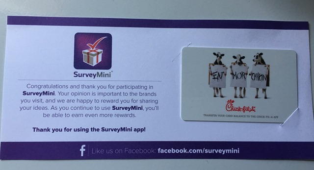 Here is my latest reward, we love chick fil a so I selected $10 Gift ...