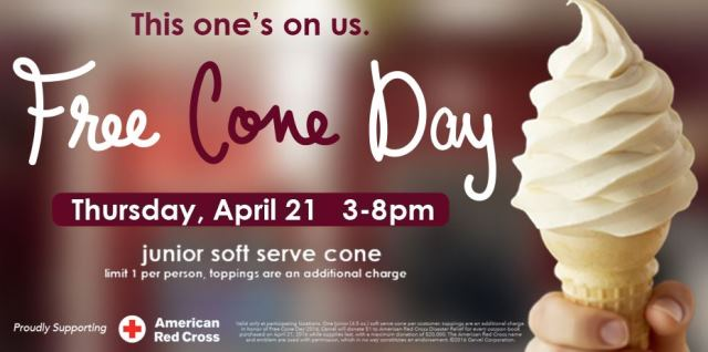 Carvel: FREE CONE DAY Today only