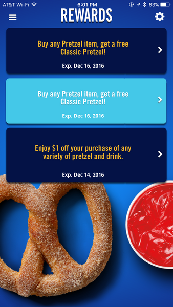 Auntie Anne's Pretzel Perks - New Coupons in App