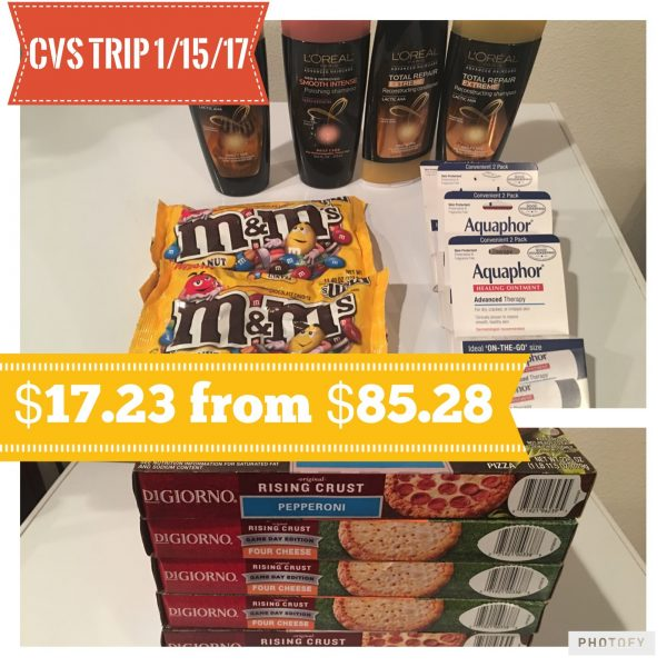CVS Shopping Trip 1/15/17 – $17.23 from $85.28