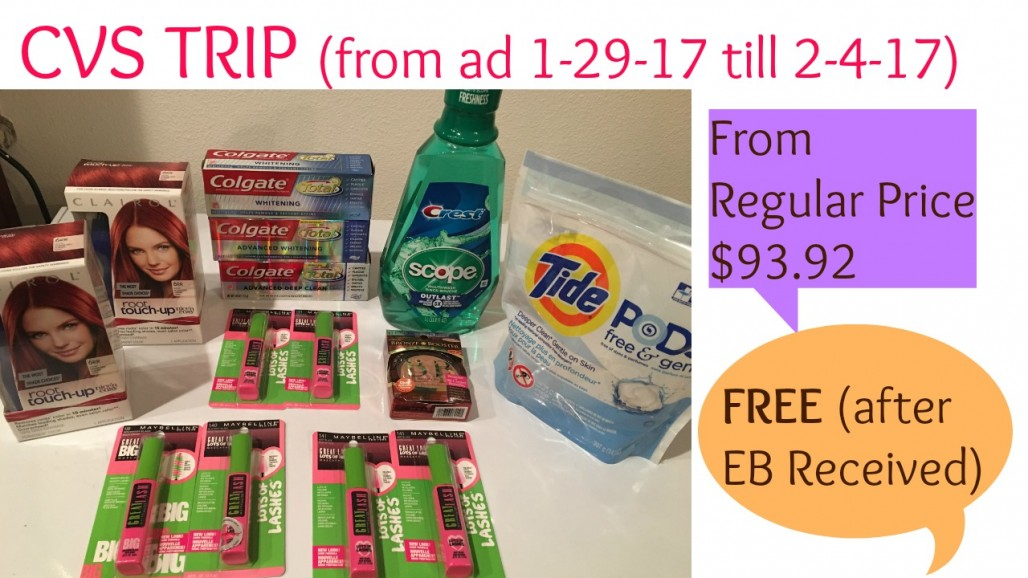CVS Shopping Trip 1/29/17 – FREE from $93.92