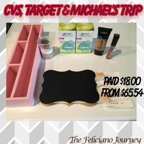CVS – Target – Michael's Quick Trip 1/16/17 – $18.00 from $65.54