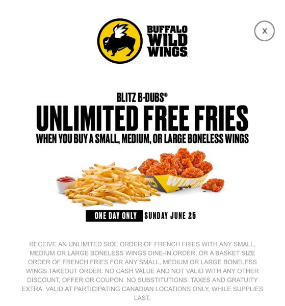 Buffalo Wild Wings unlimited fries (today only)