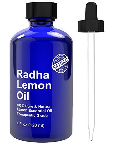 Radha Beauty Lemon Essential Oil 4 Oz – 5x Extra Strength 100% Pure & Natural Therapeutic Grade – Steam Distilled Premium Quality Oil from Italy