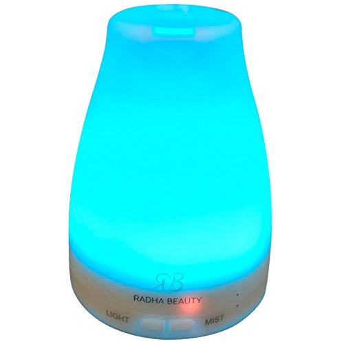 Radha Beauty Essential Oil Diffuser 7 colors – 120 ml Cool Mist Aroma Humidifier for Aromatherapy with changing Colored LED Lights, Portable, Waterless Auto Shut-off and Adjustable Mist mode