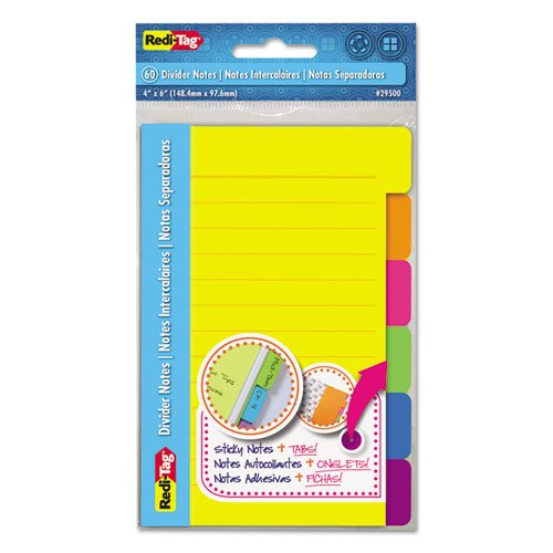 Redi-Tag Divider Sticky Notes 60 Ruled Notes, 4 x 6 Inches, Assorted Neon Colors (29500)