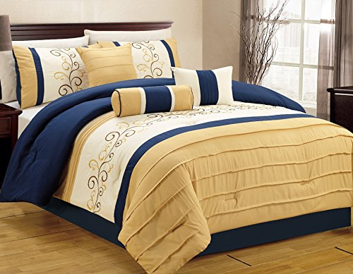 Closeout 7 Piece Luxury Embroidery Bed in bag Comforter Set (Cal King, Blue / Yellow)