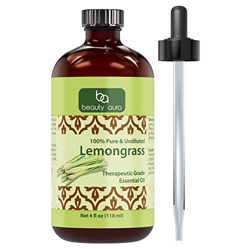Beauty Aura Lemongrass Essential Oil * 4 Oz. Bottle * 100% Pure, Undiluted Therapeutic Grade Oils * Ideal for Aromatherapy * Great Quality Great Value!