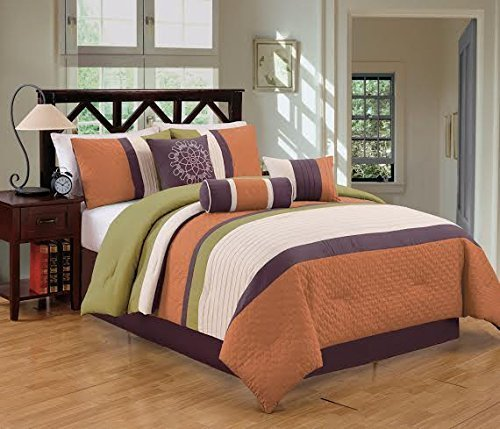 Dovedote 7 Piece Gorman Hills Strips Comforter Set, King, Orange/Green