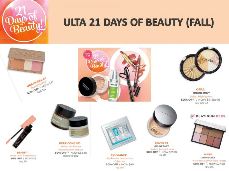 Ulta: 21 Days of Beauty -What's on special today? 9/20/17