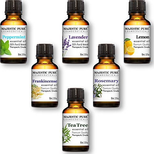 Essential Oils Set of Premium 6 from Majestic Pure, Therapeutic Grade Aromatherapy Oil Gift Set – 10 ml – Lavender, Frankincense, Peppermint, Lemon, Tea Tree & Rosemary Oils