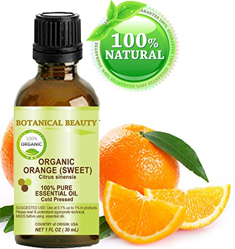 ORANGE ORGANIC ESSENTIAL OIL. 100% Pure Therapeutic Grade, Premium Quality, Undiluted. 1 Fl.oz.- 30 ml. by Botanical Beauty.