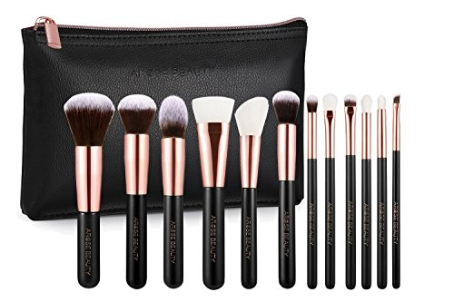 Professional Luxury Rose Gold Vintage Rose by Arose Beauty 12pc Soft Vegan Makeup Face & Eye Essentials Brush Set for Beginners and Professionals