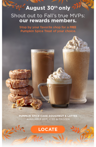 Krispy Kreme Pumpkin Spice Treat FREE (8/30) TODAY ONLY