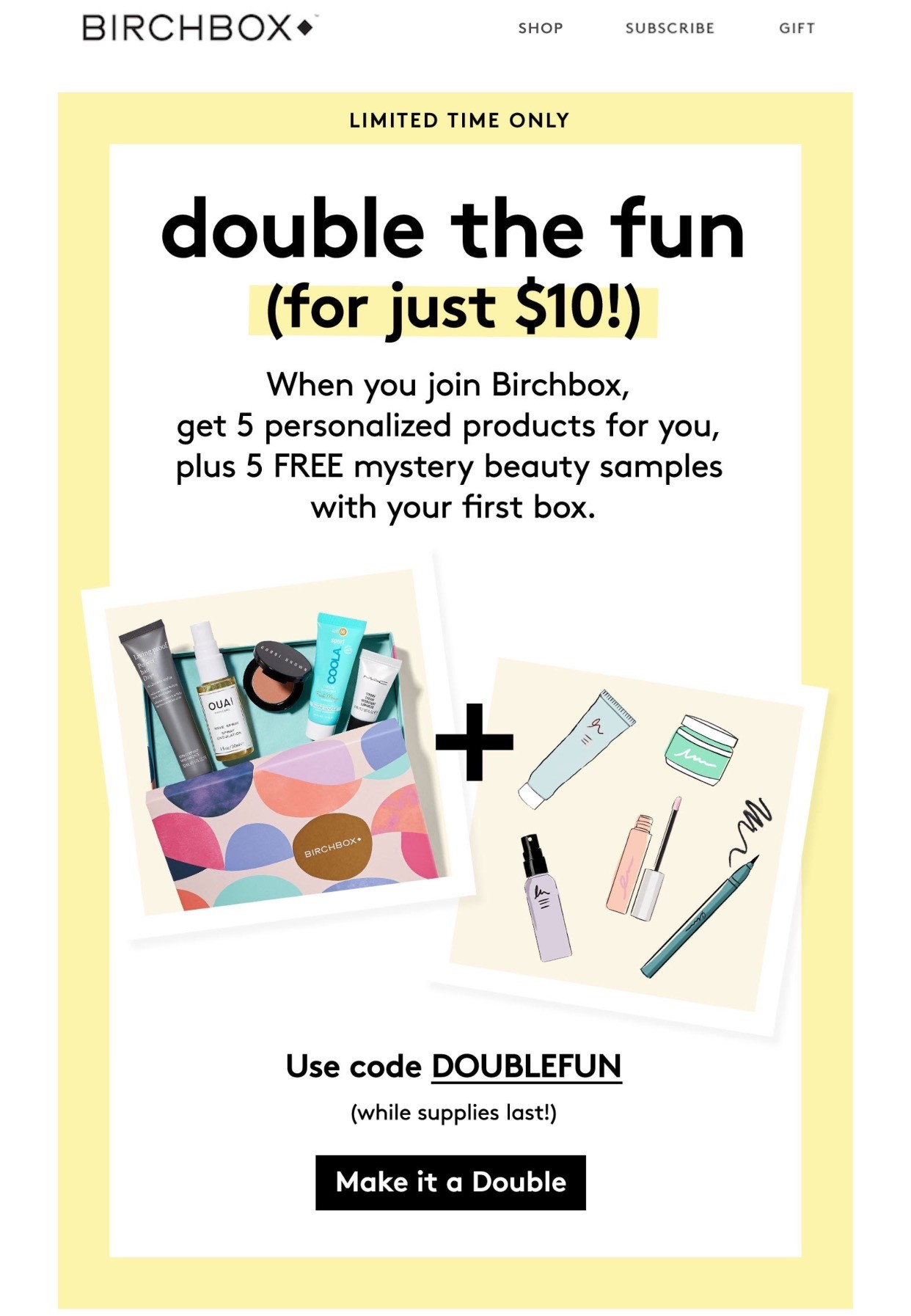 Birchbox: Double the Fun (5 FREE mystery samples) (& coupon codes)