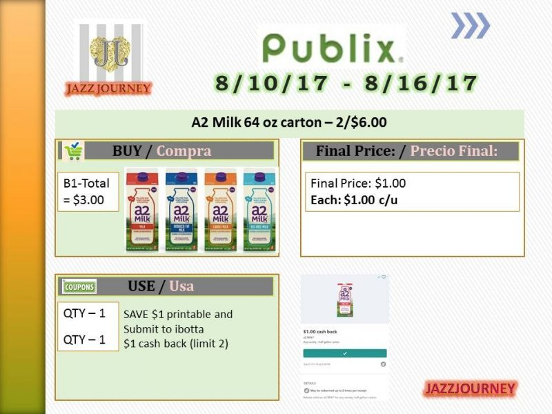 Publix: A2 Milk 64oz (upcoming ad 8/10) as low as $1.00
