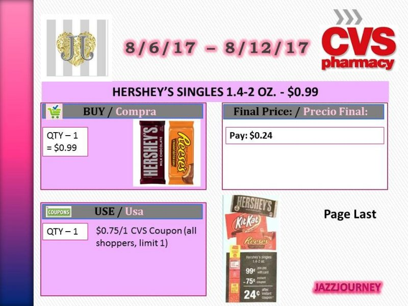 CVS: Hershey's Single Candy as low as $0.24 (starting 8/6/17)