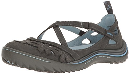 Jambu Women's Blossom Encore Mary Jane Flat, Charcoal/Blue Bell, 8.5 M US