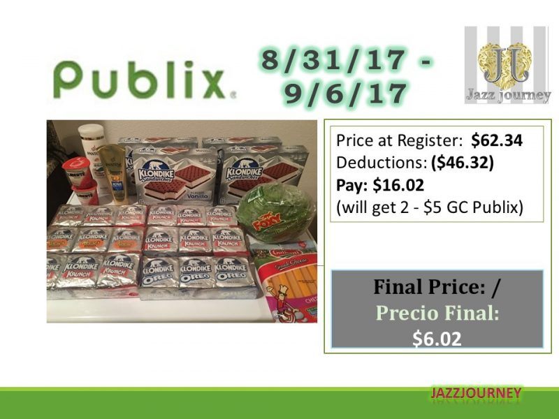 Publix Trip: 8/31/17 from $62.34 paid $6.02