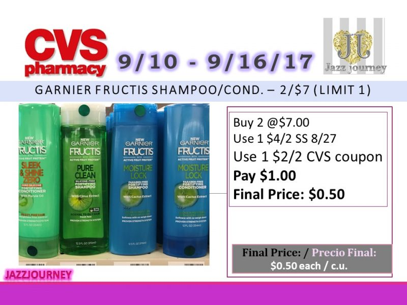 CVS: Garnier Fructis (as low as $0.50) Starting 9/10/17