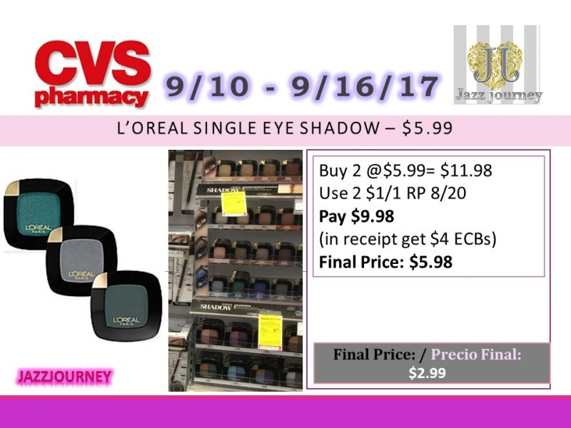 CVS: Loreal (as low as $2.99) Starting 9/10/17