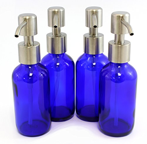 Cobalt Blue 4-Ounce Glass Bottles with S…