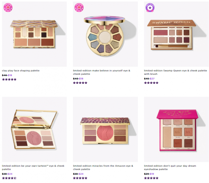 Tarte: selected items for 70% off just for today (as low as $4)