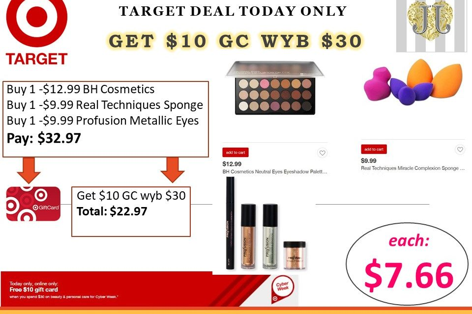 Target Make up deal as low as $7.66 ea (includes BH Cosmetics Palette)