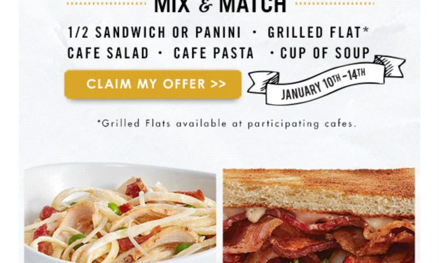 Corner Bakery Choose any 2 $6.99 (ck your email) ends today 1/14
