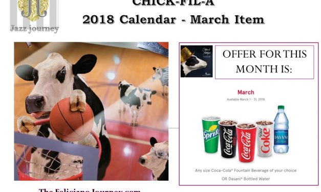 Chick Fil A – March 2018 Calendar (reminder)