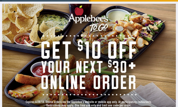 Applebees – $10 off $30 coupon code (using the app)