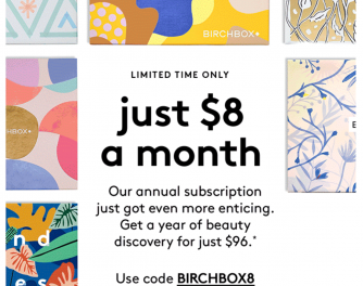 Birchbox: Yearly Subscription deal $8 a month