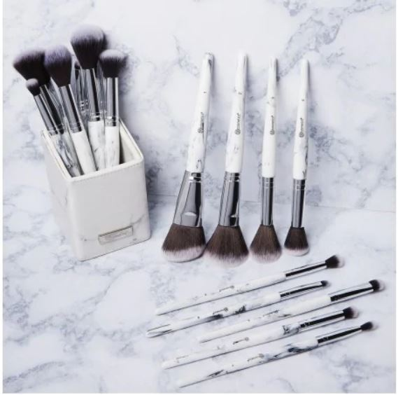 BH Cosmetics White Marble 9 pc Brush Set – $25 (today only)