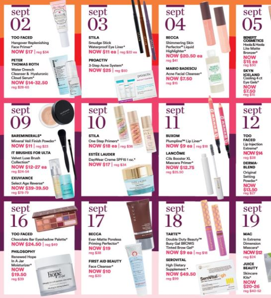 Ulta 21 Days of Beauty Fall 2018 – Sept 5 Offers