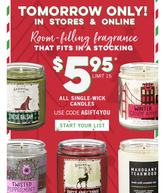 Bath & Body Works Single Wick Candles $5.95 (today only)