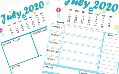 2 Free Calendar and Weekly Planner for July 2020 printable