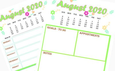 2 Free Calendar and Weekly Planner for August 2020 printable